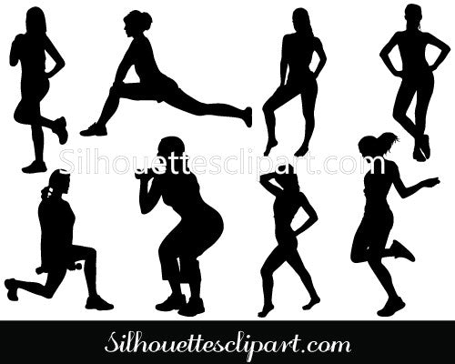 Women Exercise Vector Graphics