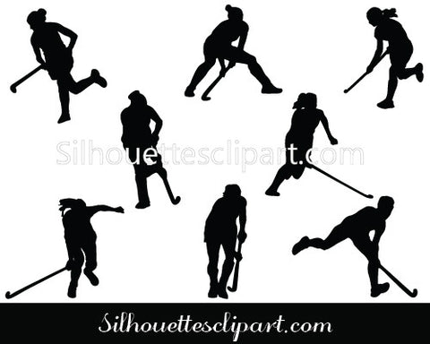 Women Hockey Players Silhouette