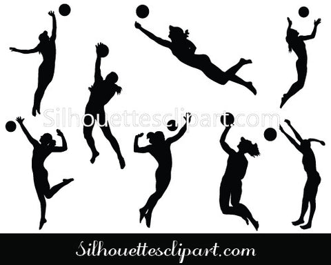 Women Volleyball Players Silhouette Vector