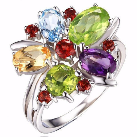 BOOS™ Flower Amethyst Cocktail Ring 3.1ct 925 Sterling Silver