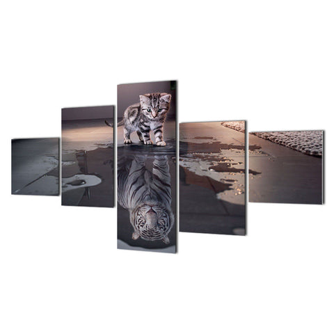 'From Little Things' 5 Panel Big Cat Canvas Wall Art