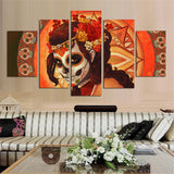 Orange Lady Day Of The Dead Canvas Wall Art
