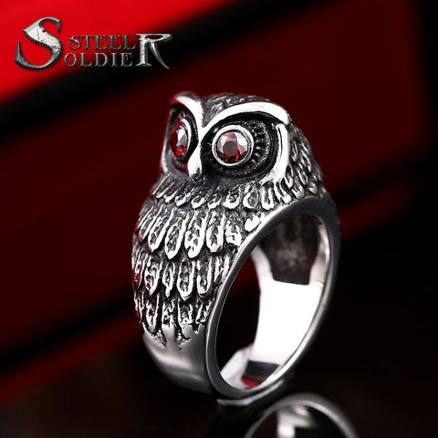 BOOS™ Steel Soldier Gothic Owl Eyes Ring