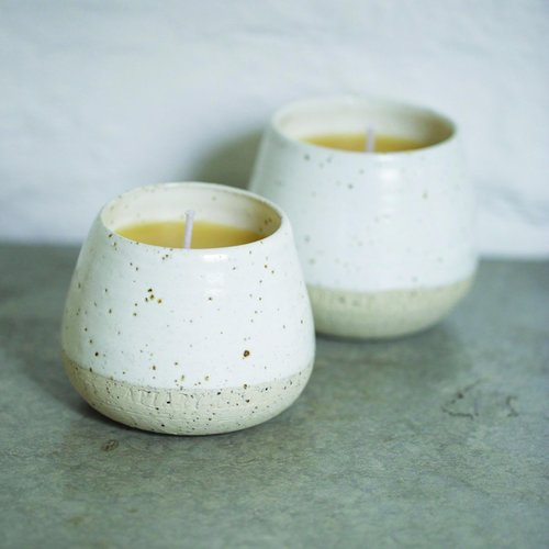 Apiary Made Ceramic & Beeswax candle