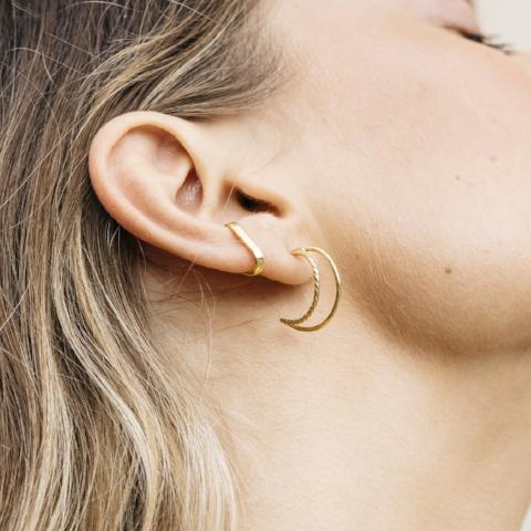 Flash Jewellery Double Hoop Moon Stud Gold Plated