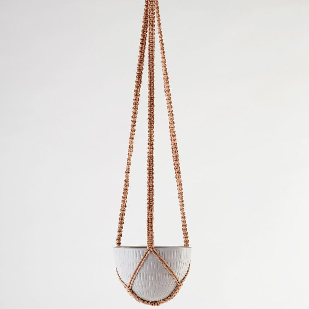 Angus & Celeste Macrame Hanging Planter Grey Small