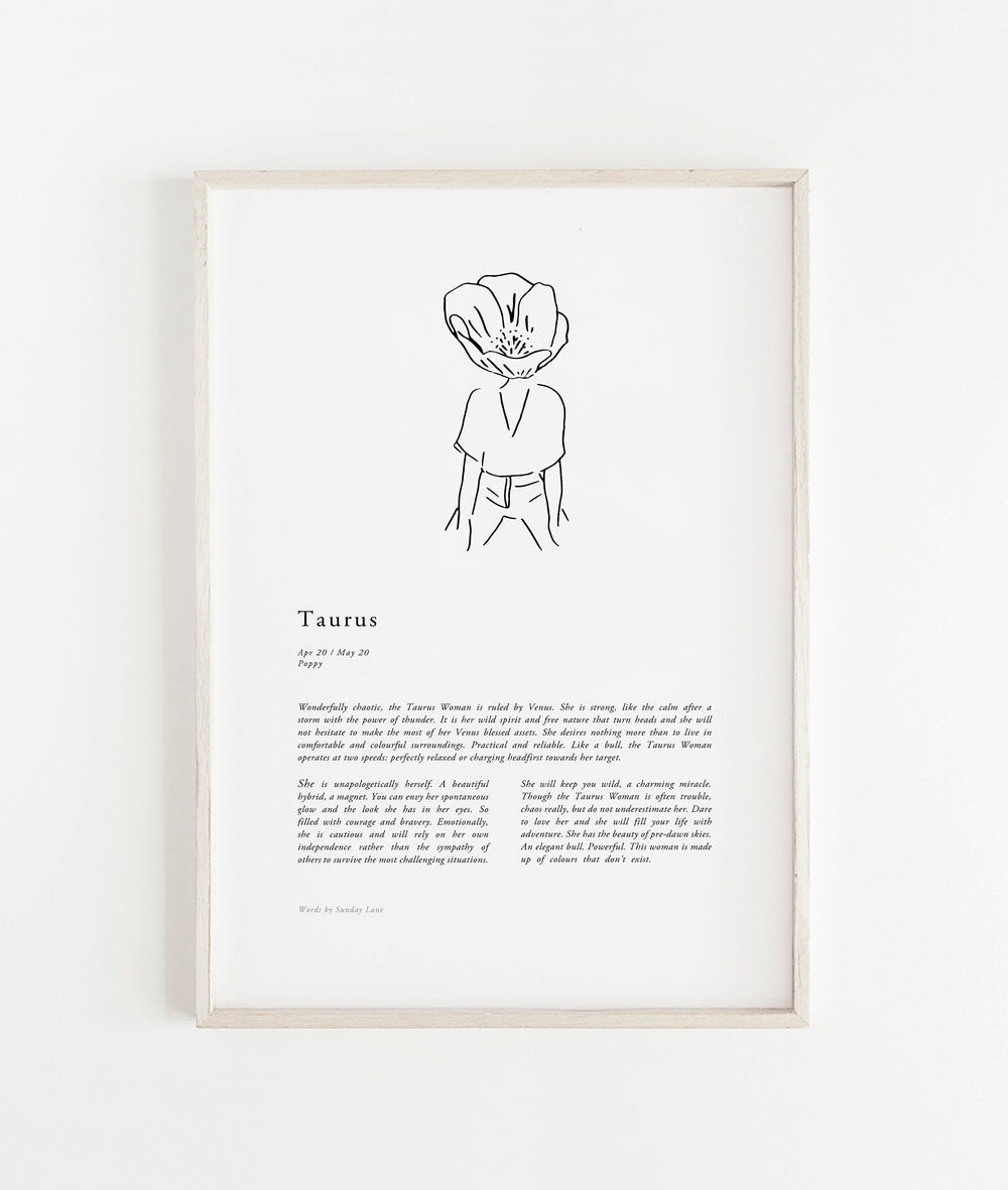 Sunday Lane Studio Zodiac Print Taurus Woman II