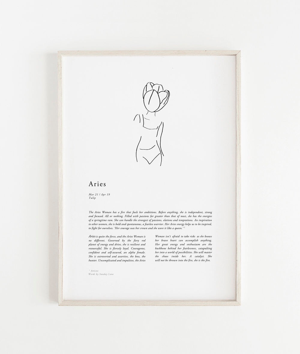 Sunday Lane Studio Zodiac Print Aries Woman II