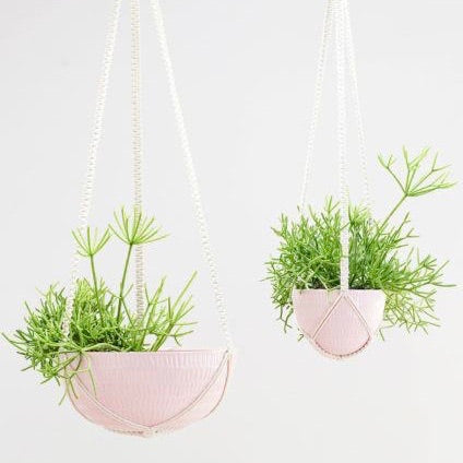 Angus & Celeste Macrame Hanging Planter Pink Small