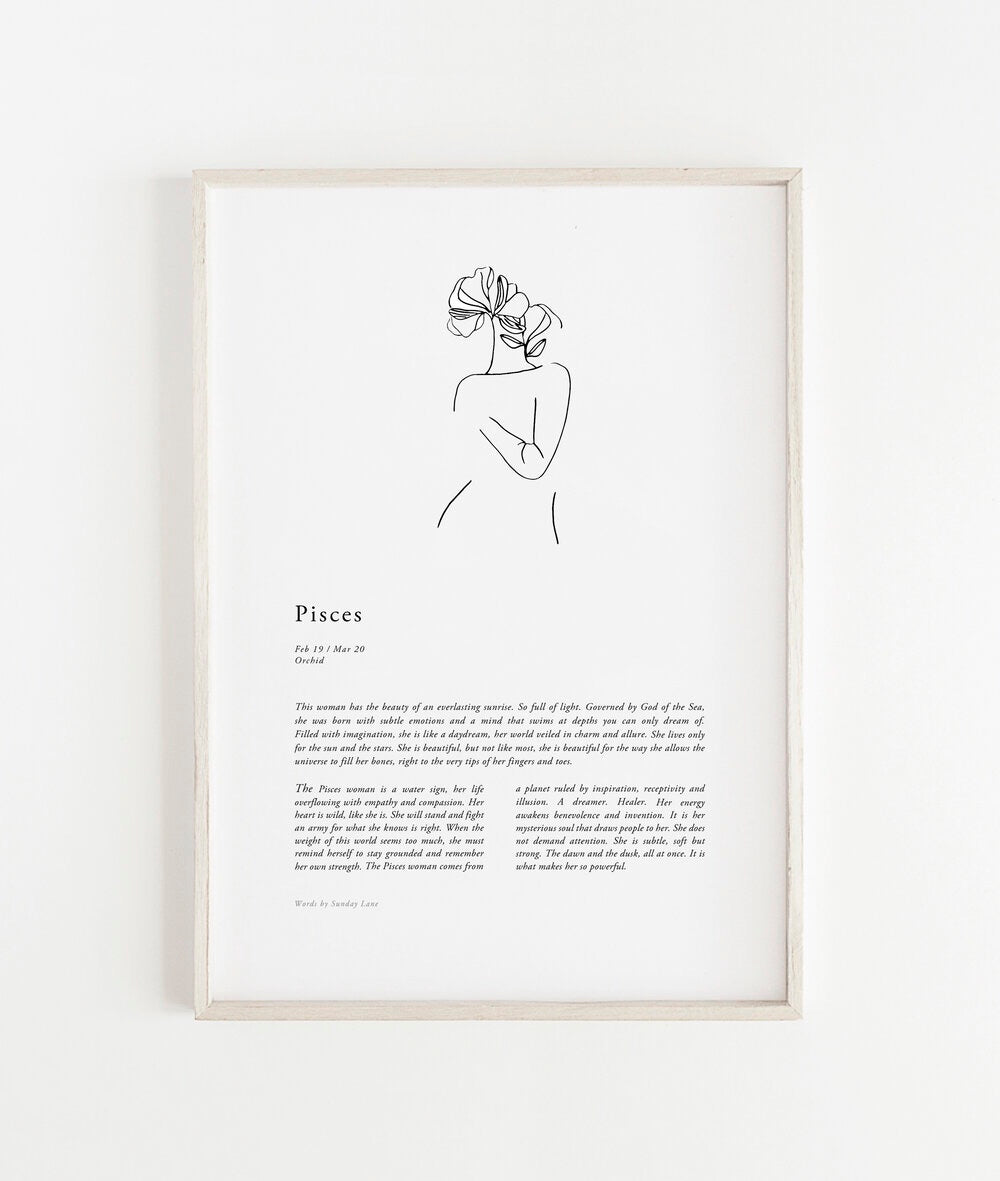 Sunday Lane Studio Zodiac Print Pisces Woman II
