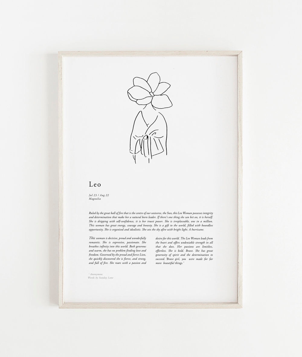 Sunday Lane Studio Zodiac Print Leo Woman II