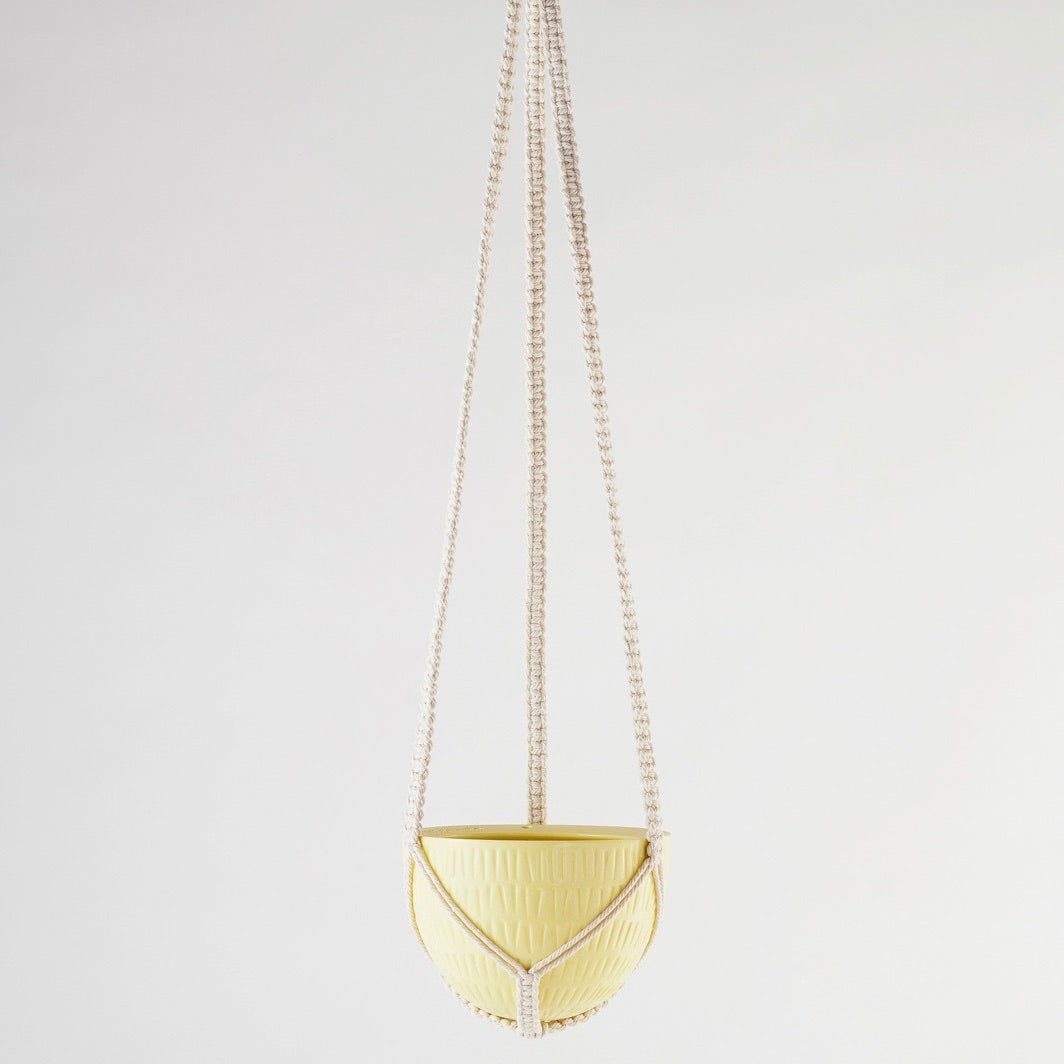 Angus & Celeste Macrame Hanging Planter Yellow Small