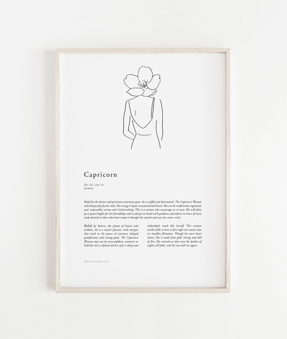 Sunday Lane Studio Zodiac Print Capricorn Woman II