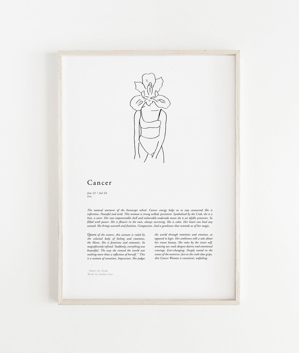 Sunday Lane Studio Zodiac Print Cancer Woman