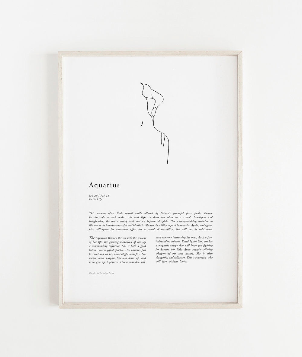 Sunday Lane Studio Zodiac Print Aquarius Woman II