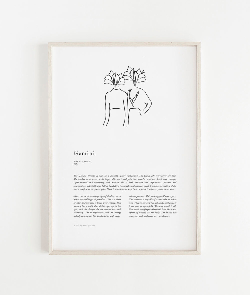 Sunday Lane Studio Zodiac Print Gemini Woman II