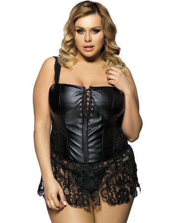 Plus Size Faux Leather And Venice Lace Corset - 5XL