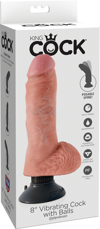 "8"" Vibrating Cock With Balls (Flesh)"