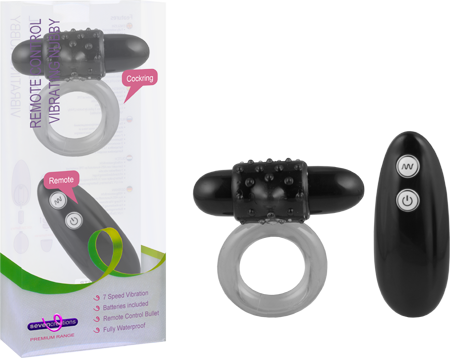 Remote Control Vibrating Nubby Cockring (Black)