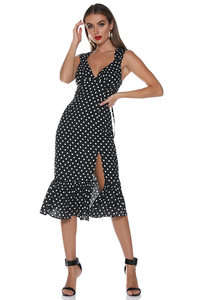 Emma Midi Dress - Black Spot