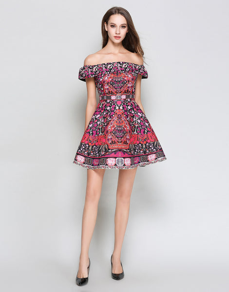 Pink Folk Print Bardot Dress