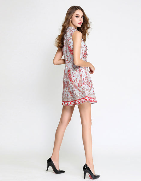 Grey & Red High Neck Printed Mini Dress