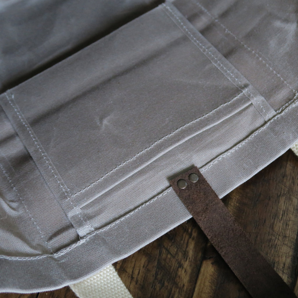 Waxed Canvas Print Panel Tote - 'Canyon' in Light Gray