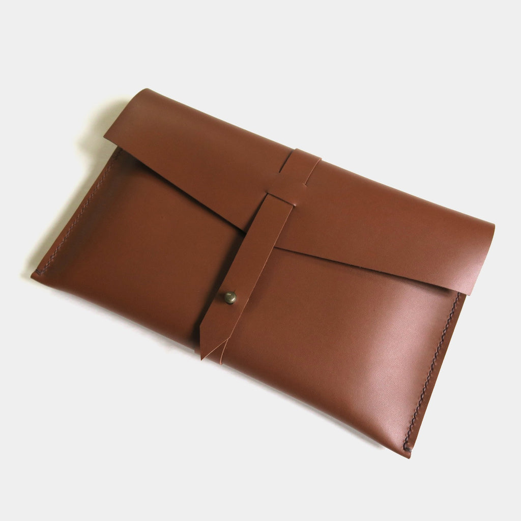 Hand-Stitched Leather Envelope Clutch - Large