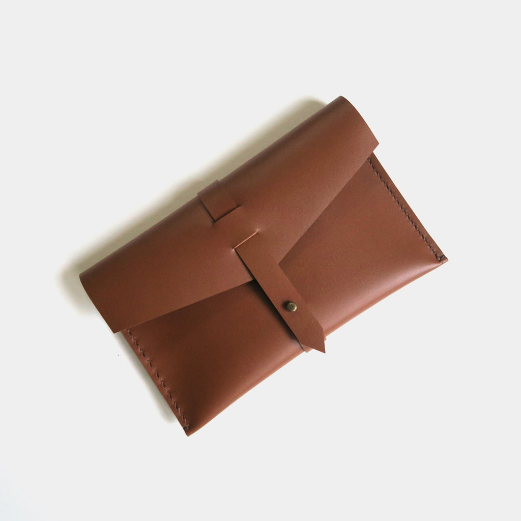Hand-Stitched Leather Envelope Clutch - Small