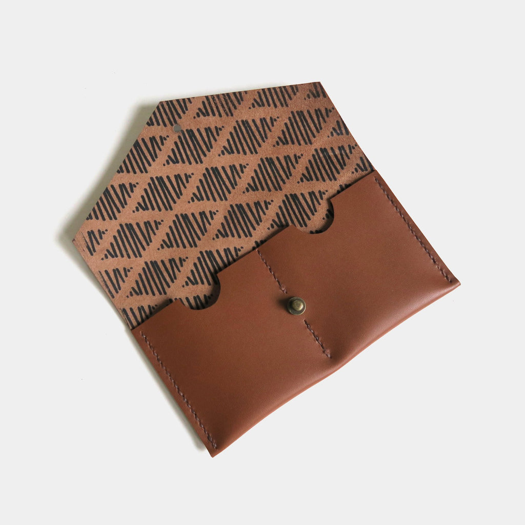 Hand-Stitched Leather Envelope Wallet in Caramel