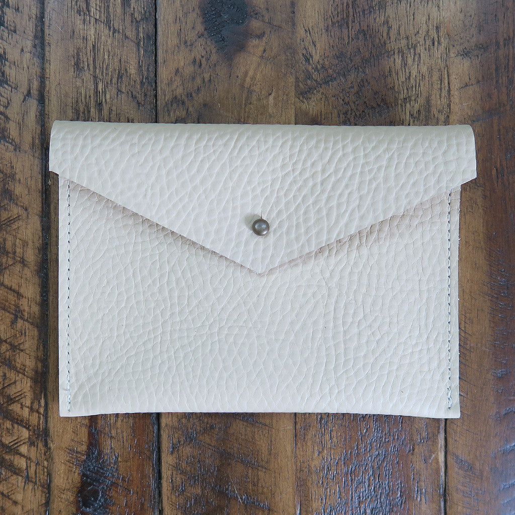 Leather Envelope Pouch Medium - Ivory