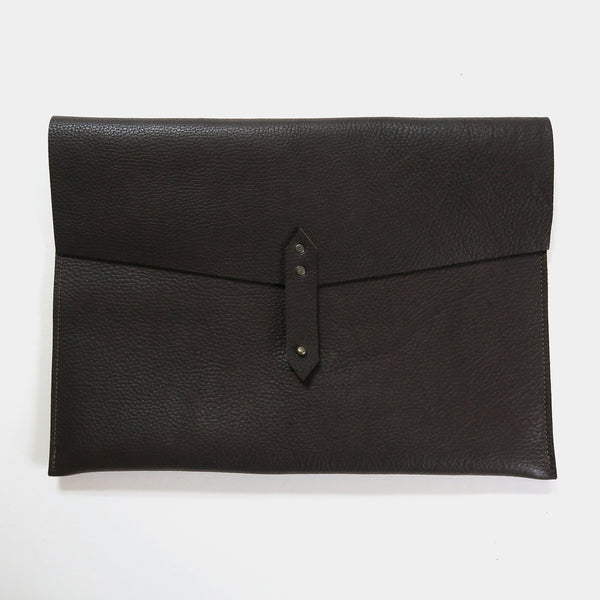 Leather Envelope Laptop Sleeve - Brown Pebbled *Sample*