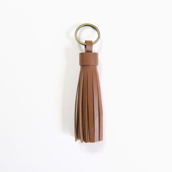 Leather Tassel Keychain - Caramel
