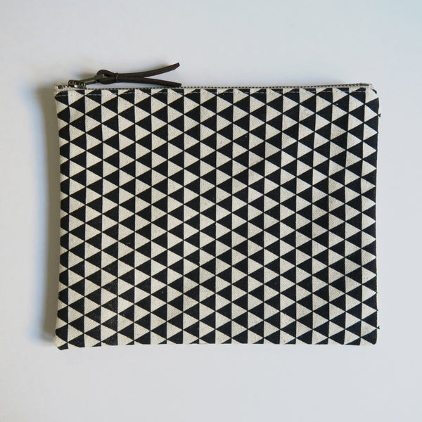 Large Zip Pouch 'Northbound' White/Black
