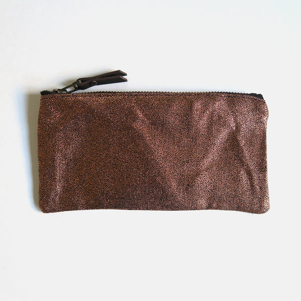 Metallic Copper Zip Pencil Pouch