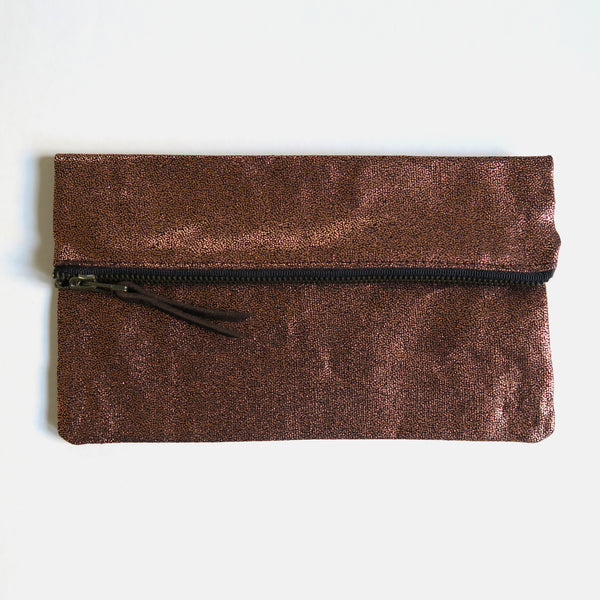 Metallic Copper Large Zip Pouch
