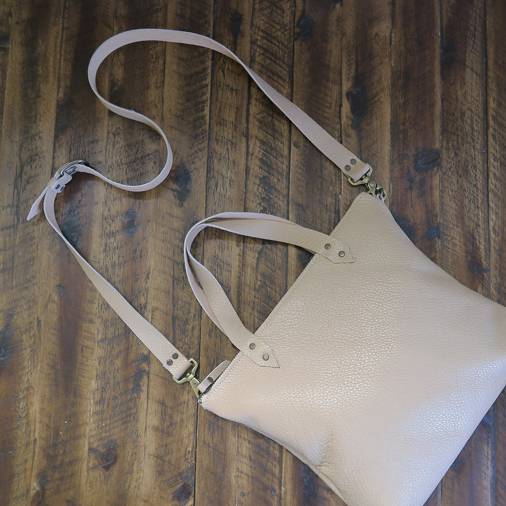 Pebbled Leather Mini Crossbody Bag in Taupe