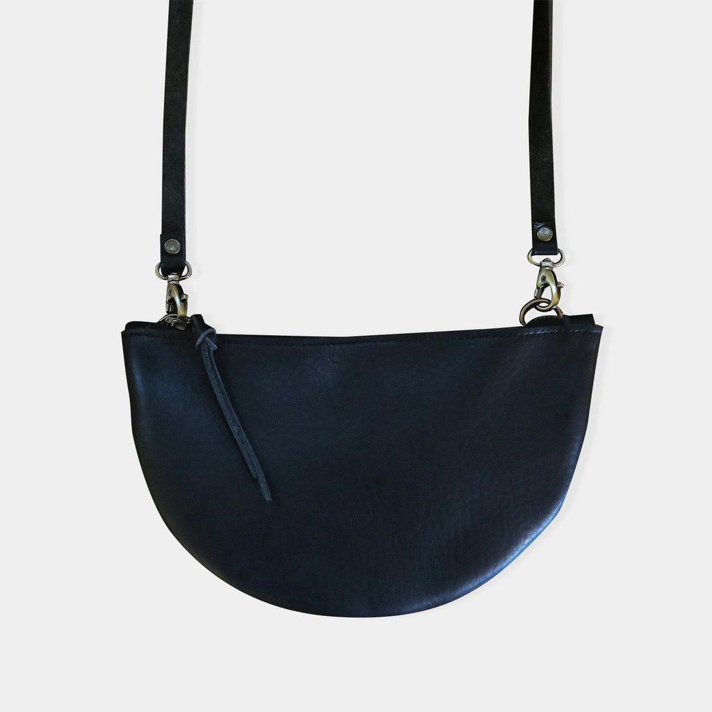 Half Moon Leather Crossbody Bag in Black Pebbled