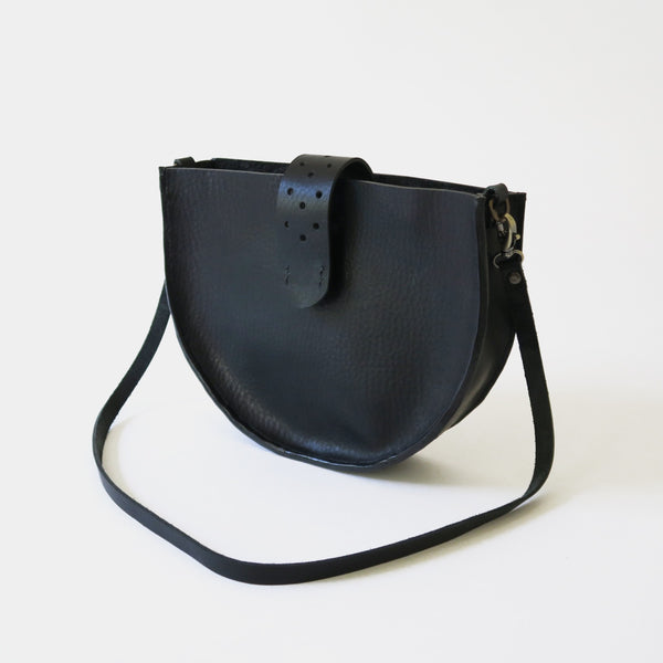 Hand-Stitched Leather Crossbody Bag in Black Pebbled