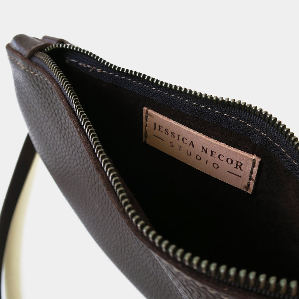 Half Moon Leather Crossbody Bag in Brown Pebbled