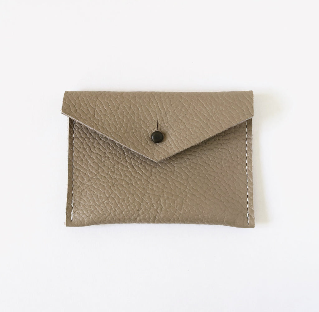 Leather Card Case - Taupe