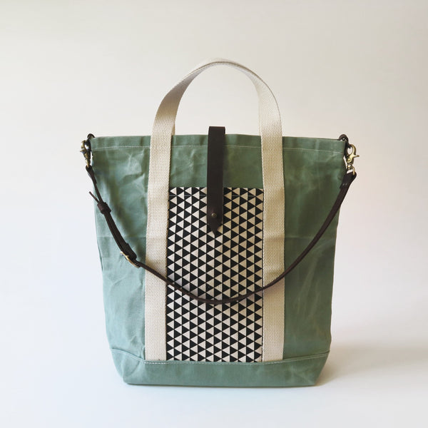 Waxed Canvas Print Panel Tote - 'Northbound' in Sea Glass