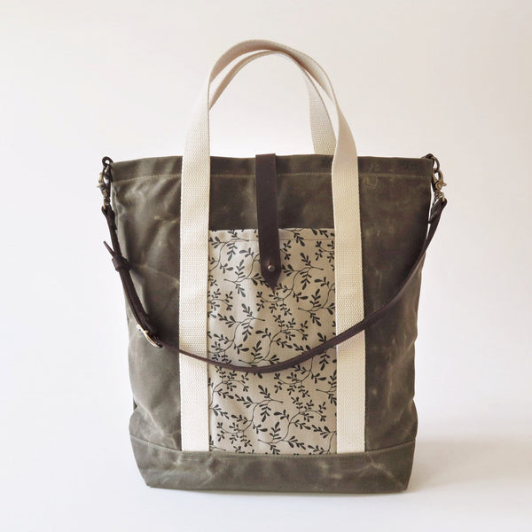 Waxed Canvas Print Panel Tote - 'Grove' in Olive