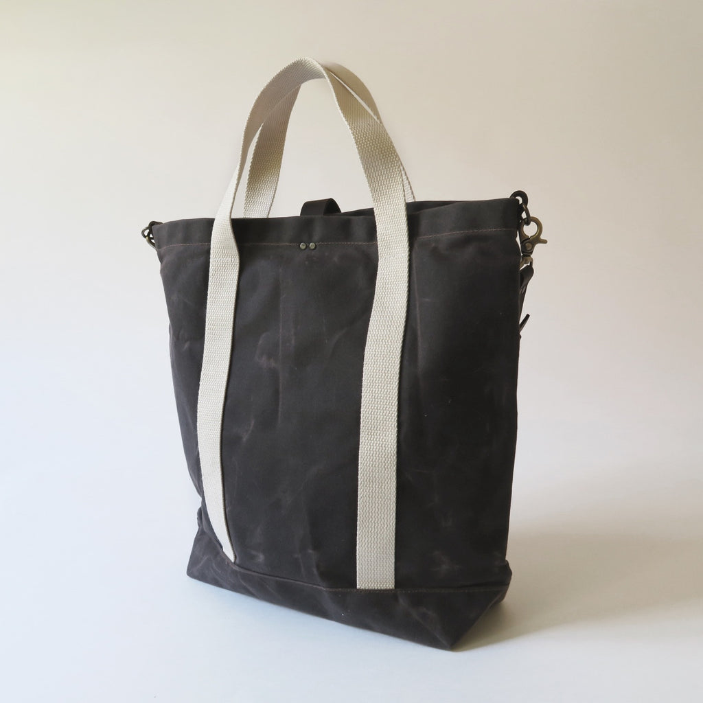 Waxed Canvas Print Panel Tote - 'Canyon' in Brown