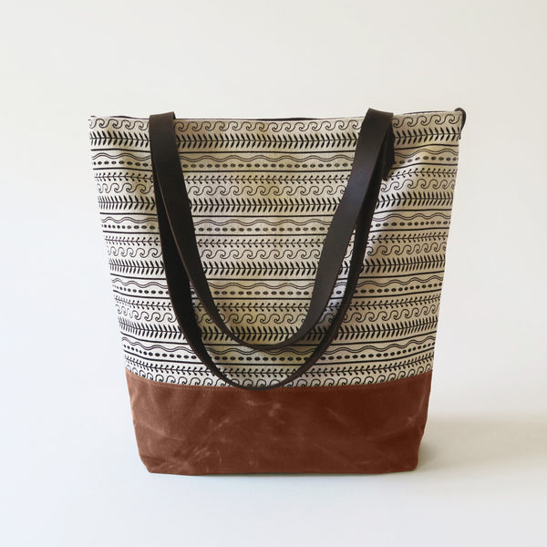 Canvas Tote Bag 'Cypress' White/Tan