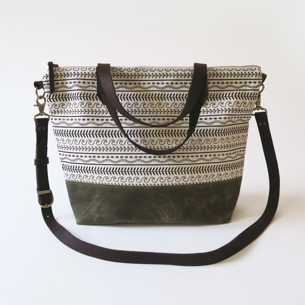 Crossbody Tote Bag 'Cypress' White/Green