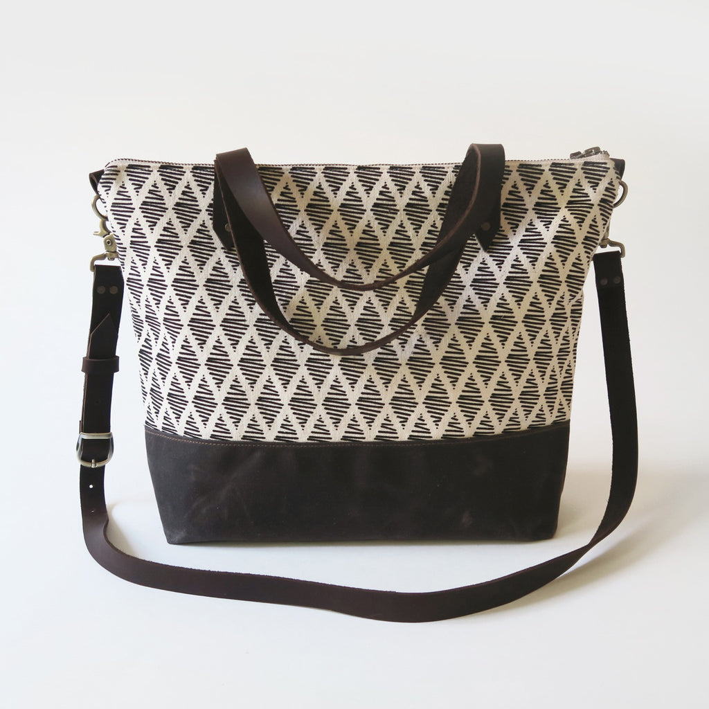 Crossbody Tote Bag 'Thalia' White/Brown