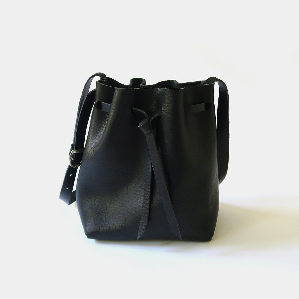 Leather Bucket Bag in Black Pebbled