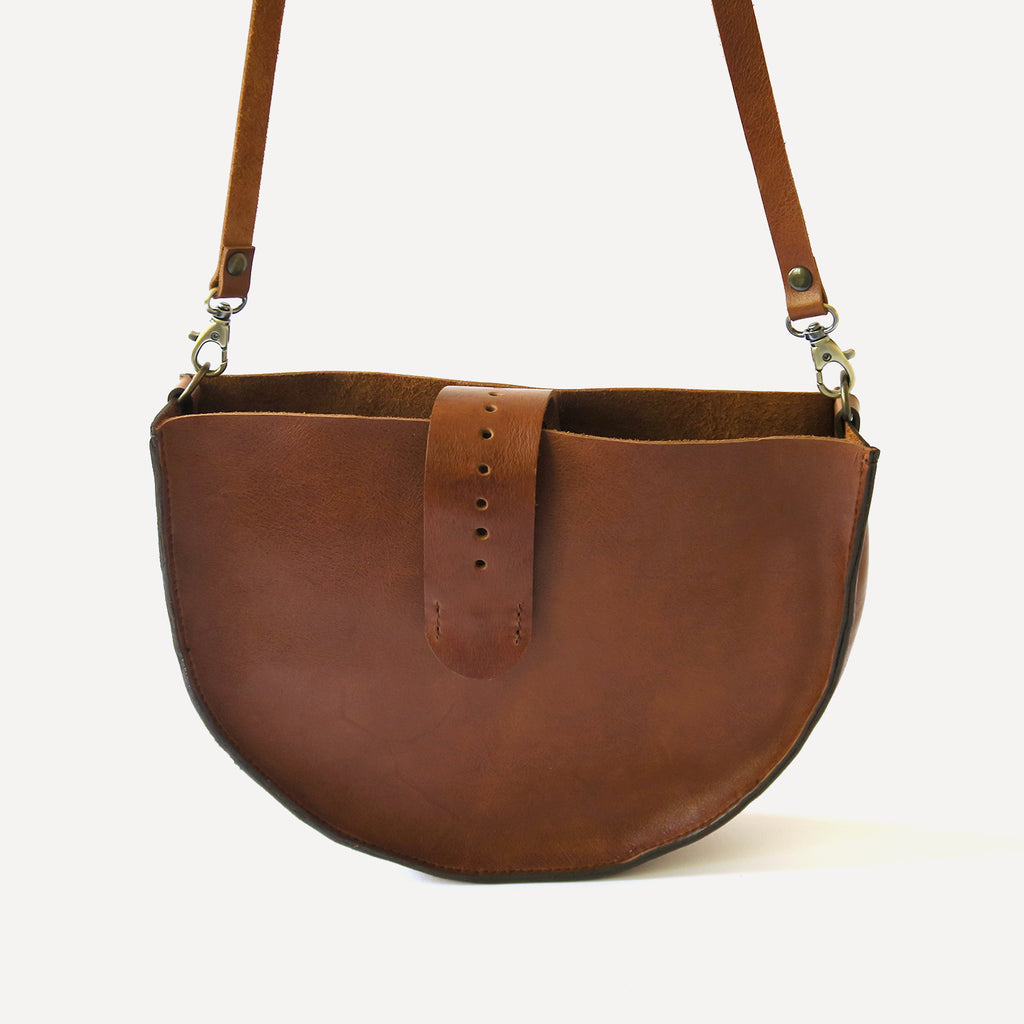 Leather Shoulder Bag in Cognac