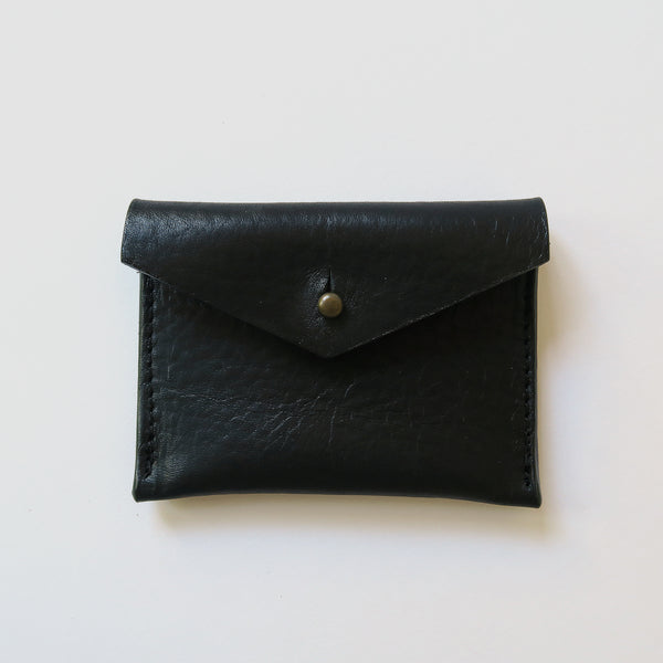 Leather Card Case - Black Pebbled
